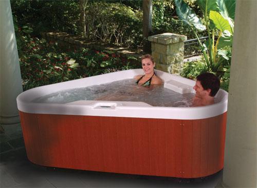 3 person corner hot tub.  Sunrise 3 Person Spa