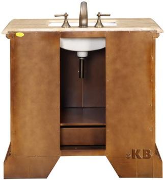 High Quality Cherry Bathroom Vanity With Travertine Top Sin