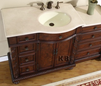 High Quality 55 5 Bathroom Vanity With Off Center Marble Sink