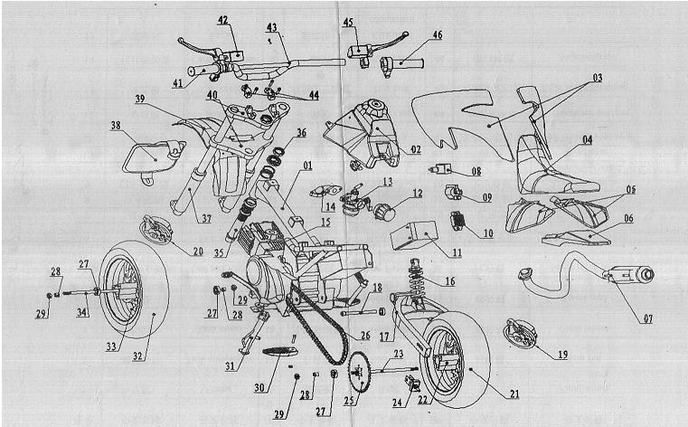 4 stroke 110cc 90cc engine parts diagram mini bike parts
