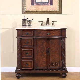 High Quality 36 Bathroom Vanity With Off Center Marble Sink