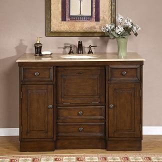 High Quality 48 Walnut Bathroom Vanity With Travertine Top Sink