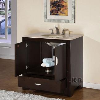 High Quality Dark Walnut Bathroom Vanity Cabinet With Marble - Bathroom vanity drain installation