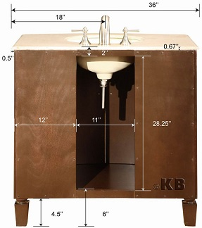 high quality 36 dark walnut bathroom vanity with marble