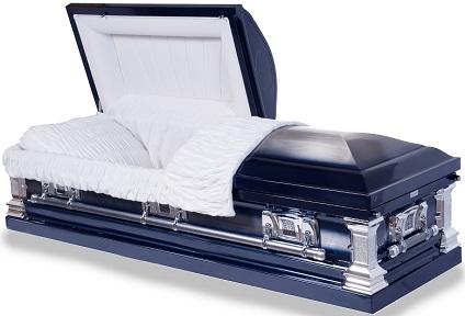 stainless steel dark blue finish casket
